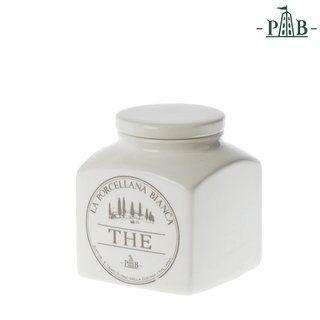 """8,50 €- Die Vorratsdose für Tee von La Porcellana Bianca ist aus Keramik und für einen Inhalt von 0,5 l. Beschriftet ist die Vorratsdose auf italienisch mit """"The""""."""