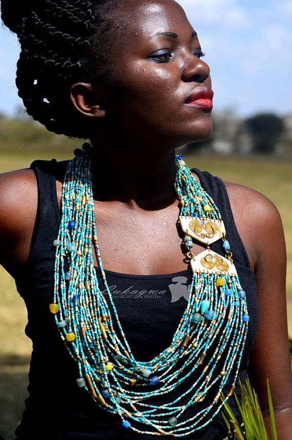 Turquoise African Masai Beaded statement necklace,Masai Beaded Elegant African jewelry | Pinterest | Africans, African jewelry and Turquoise