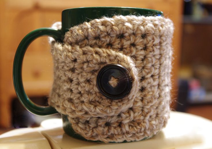 Crochet Coffee Cup Cozy - Caramel Color - See Other Tweed ...
