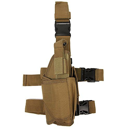 Universal Tactical Pistol Pouch Gun Drop Leg Holster w/ Mag Pouch Right Handed, Tan