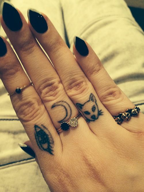 Tiny Eye And Moon Tattoo On Fingers