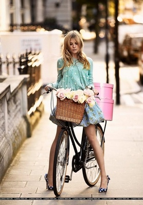 cp: Hats Boxes, Riding A Bike, Style, Bike Riding, Clemence Poesy, Clemencepoesy, Baskets, Flower, Bicycle