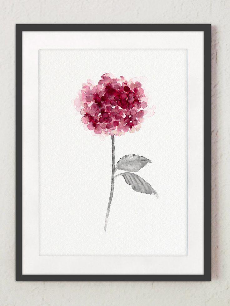 Hortensie Home Living Floral FrontTür Blume, lila Aquarell, rosa Hortensien HousewarmingGeschenk, Herbst Sommer Wohnzimmer Kunst