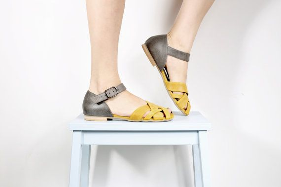 yellow and gray Leather Sandals with peep toe woven door ADIKILAV, $210.00
