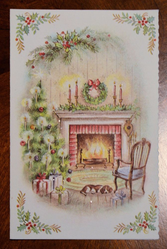 Sleeping Beagle Dog In Front Of The Warm Fireplace With A Cozy Chair Waiting For Us Christmas Tr Vintage Christmas Cards Christmas Postcard Vintage Christmas