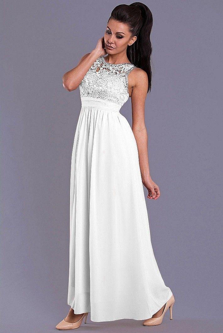 EVA&LOLA SUKIENKA- BIAŁY Elegancka suknia wieczorowa.  #modadamska #sukienkiletnie #sukienka #suknia #sklepinternetowy #allettante