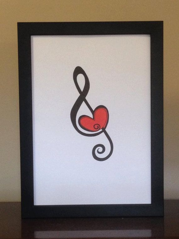 For the love of music. Heart in Treble Clef. Print. by TinkerTailorDesign