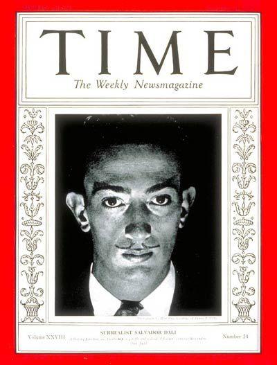 1936 la rivista Time pubblica la foto di Dalí in copertina.