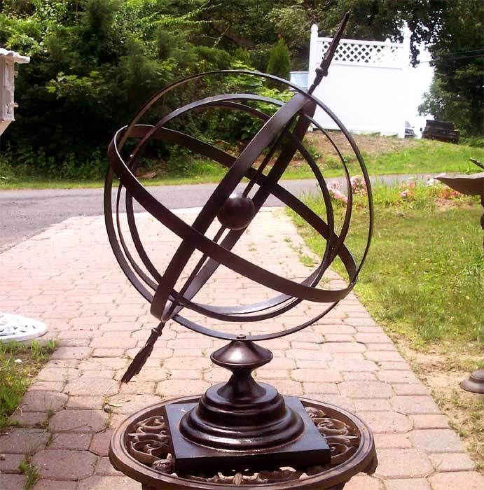 136 best armillary spheres and sundials images on pinterest garden art gardening and yard art - Wrought iron garden sculptures ...