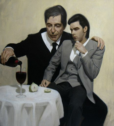 """Australian artist Ben Smith's """"The Influence. Leonard Cohen consoles Nick Cave"""" depicts, with both wit and affection, the two melancholic bards as guru and student, father and son, ventriloquist and dummy, sharing the blood of Jesus and the fruit of knowledge.    Visit Smith's website for more tantalizingly cool paintings.    Via Cherrybombed."""