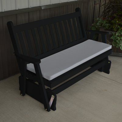 A & L Furniture Yellow Pine Traditional English Outdoor Bench Glider Black - 603-BKP BLACK, Durable