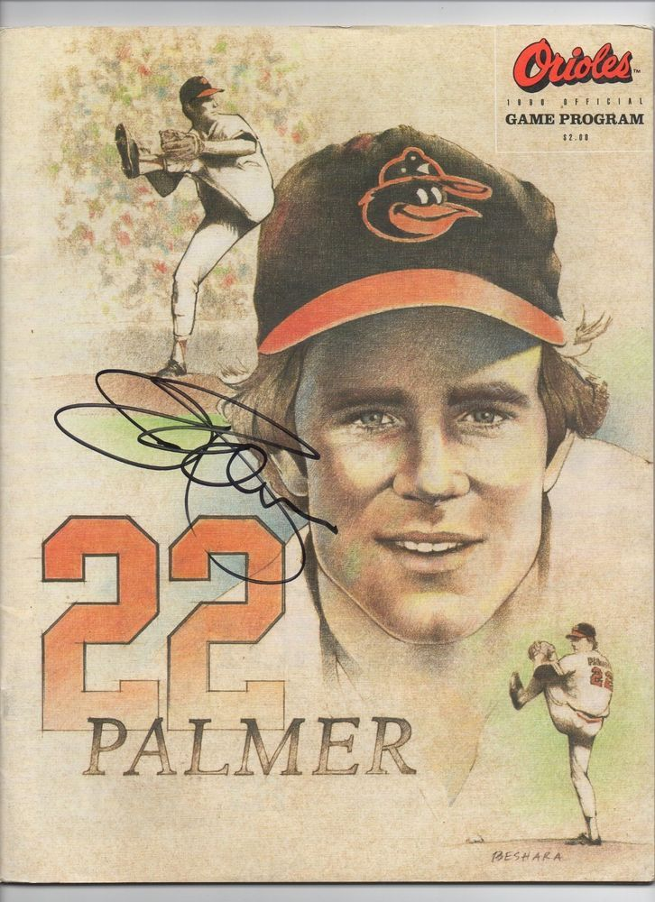 ad5fcd0cfcd 1990 Baltimore Orioles Game Program with Jim Palmer Autograph SIGNED ...