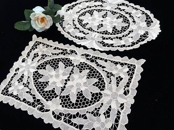 Venetian Lace Doilies. Oval and Oblong Vintage Cotton Lace