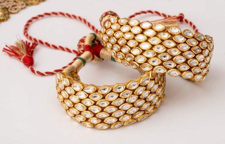 Ethnic, Opulent Retro Style Bracelet in 22k Yellow Gold With Polqui (uncut dia) #SitaramHanumandas