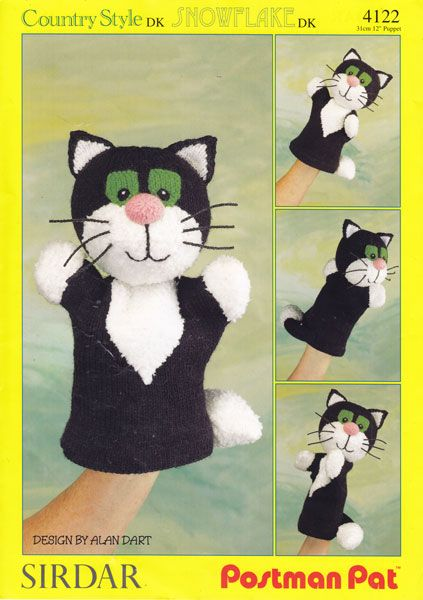 Puppet Gloves Knitting Pattern : vintage jess postman pat cat hand puppet knitting pattern crochet/knit Pi...