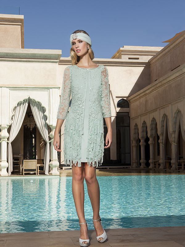 Mata Hari 2015 - Sonia Peña siempre a la última con sus diseños... buena muestra de ello es este fabuloso #vestidodefiesta corto con pedrería en tonos verdes... ¿no os parece ideal?