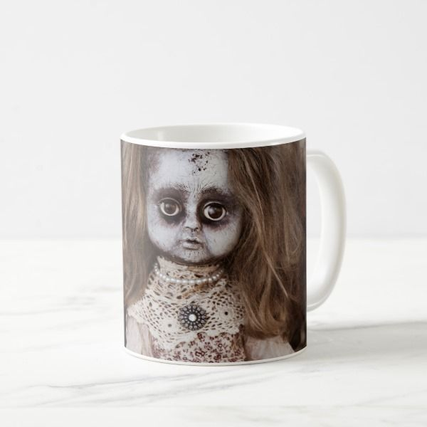 Creepy Gothic Porcelain Doll Victorian Goth Coffee Mug #halloween #holiday #drinkware #party #cups
