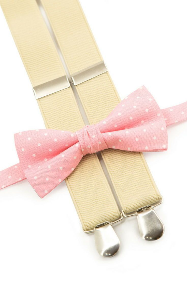 02bfe1061 Boys bow tie and braces pink polka dots bowtie   beige suspenders groomsmen  outfit