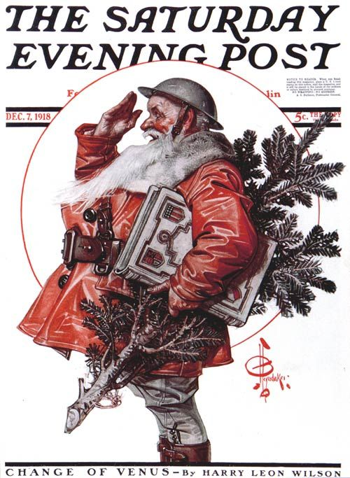 Saluting Santa   JC Leyendecker   December 7, 1918  Saturday Evening Post