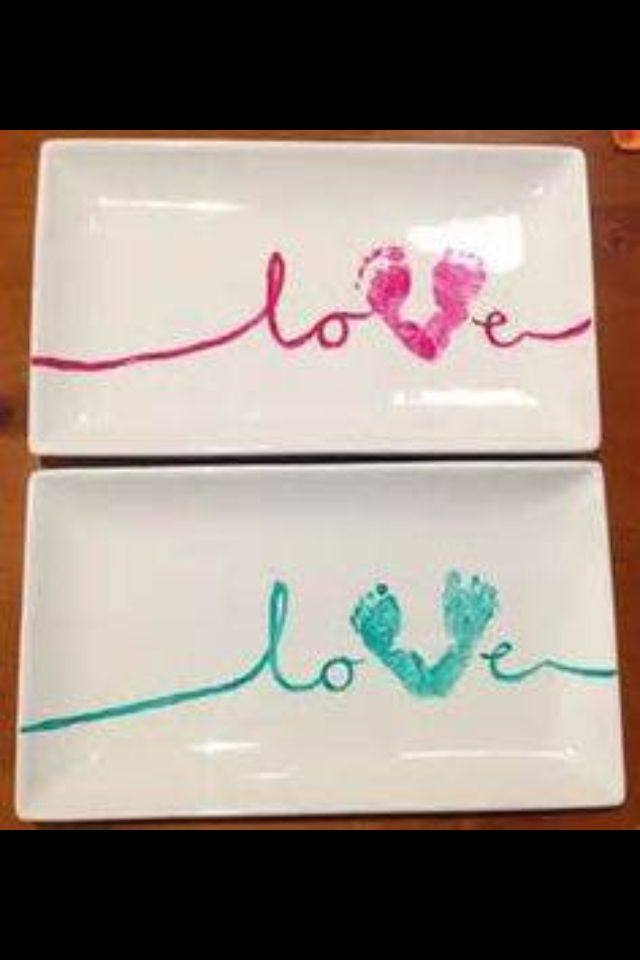 Make a cute Valentines's craft with the baby!! Purchase a dollar store plate, craft store paint that can be baked, & either write in paint or sharpie whatever you like! :)