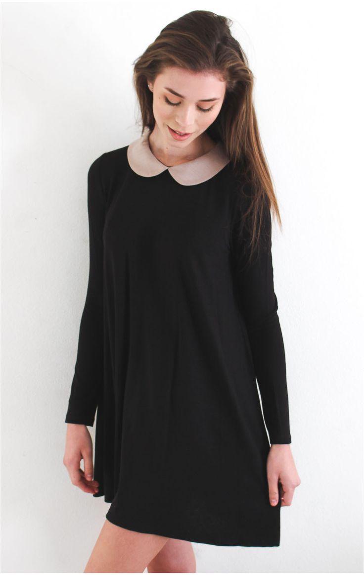 Black dress with white peter pan collar - Long Sleeve Peter Pan Collar Dress Re Re