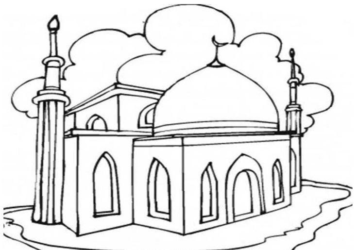 gambar masjid yang indah dan mudah digambar