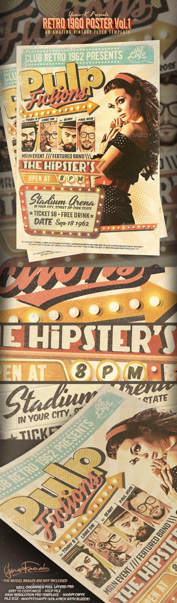 Best Retro Vintage Flyer Template Images On   Flyer