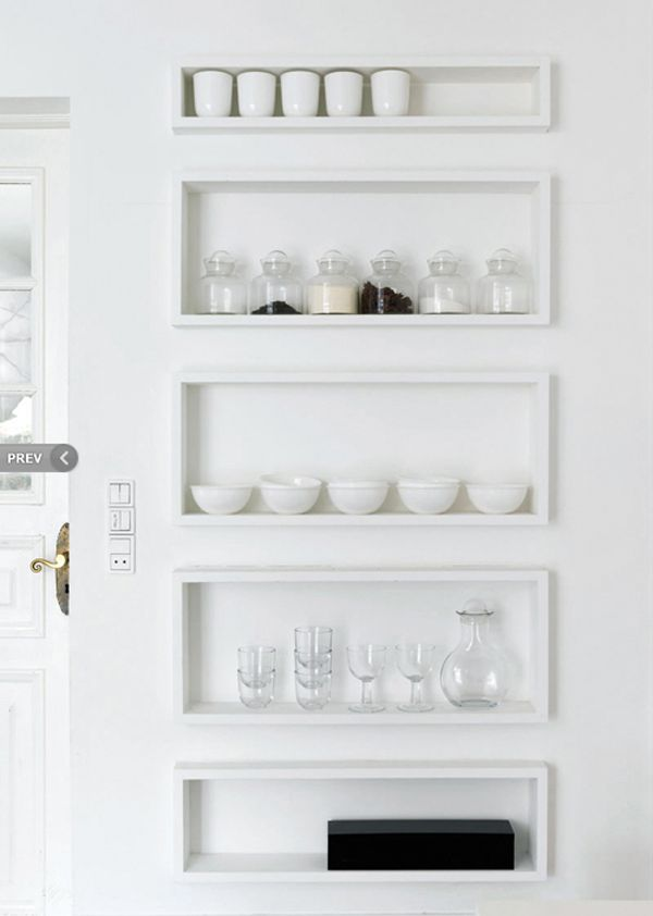 shadow box shelves in this kitchen = perfect blend of decor and storage
