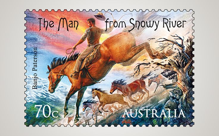 """2014. Celebrating the 150th anniversary of Australia's favourite bush poet 'Banjo' Paterson birth and his lifelong achievements on a stamp issue. The stamps acknowledge Banjo's iconic bush-themed ballads. This one features. 1890 """"The Man from Snowy River"""". This pin is linked to the words of the poem"""