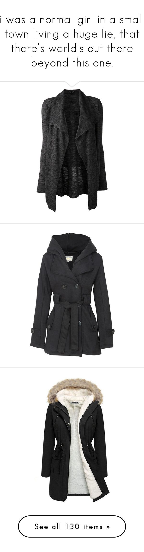 """""""i was a normal girl in a small town living a huge lie, that there's world's out there beyond this one."""" by demiwitch-of-mischief ❤ liked on Polyvore featuring tops, cardigans, jackets, outerwear, sweaters, charcoal, long cardigan, shawl collar open front cardigan, draped cardigan and open front tops"""