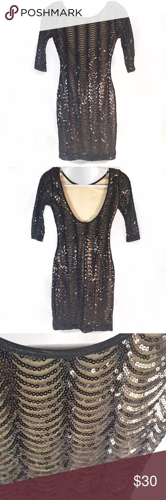 🎈SUPER SALE🎈Sequin black on nude Cocktail Dress Mini dress. Elegant and chic. Black sequin on nude background. Open back Vintage Dresses Mini