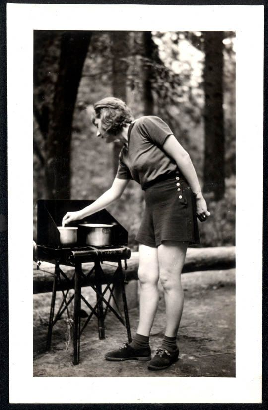 vintage photo Camping Florence Cooks on Coleman Stove by maclancy, $6.50