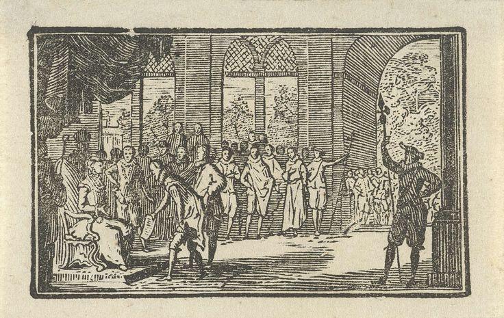 Anonymous   Het aanbieden van het Smeekschrift aan de hertogin van Parma, 1566, Anonymous, 1750 - 1899   Het aanbieden van het Smeekschrift door het verbond der edelen aan de landvoogdes, de hertogin van Parma, in het paleis te Brussel 5 april 1566. Hendrik van Brederode overhandigt haar het verzoekschrift.