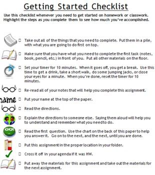"""This is a checklist to help students with attentional difficulties such as ADHD self-monitor while working independently.  I am a middle school learning specialist, so it was created for students at this level, but can be edited for any student.  The front side has a """"getting started checklist""""."""