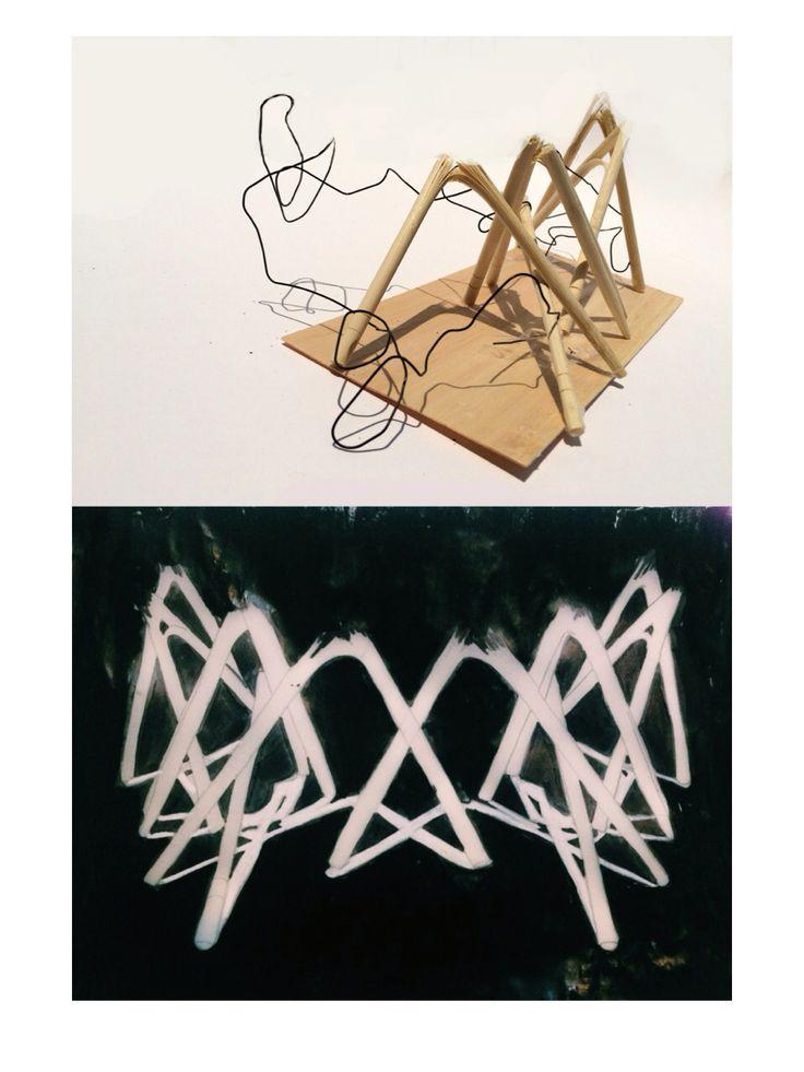 balance, rhytm, shadow, reflection, positive space. materials: chopstick, balsa wood, wire.