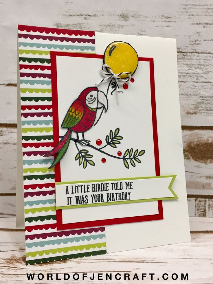 Stampin' Up! Bird Banter Birthday Card - World of JenCraft