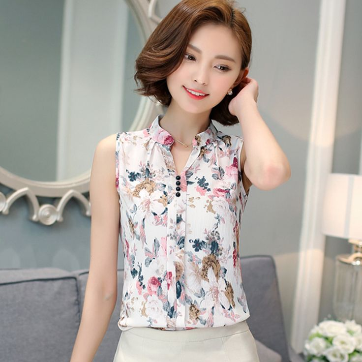 Blusas Femininas 2016 Nieuwe Mode Zomer Chiffon Blouse Vrouwen Gedrukt Mouwloze Blouse Bloemenprint Blouses Shirts Shirt Kantoor