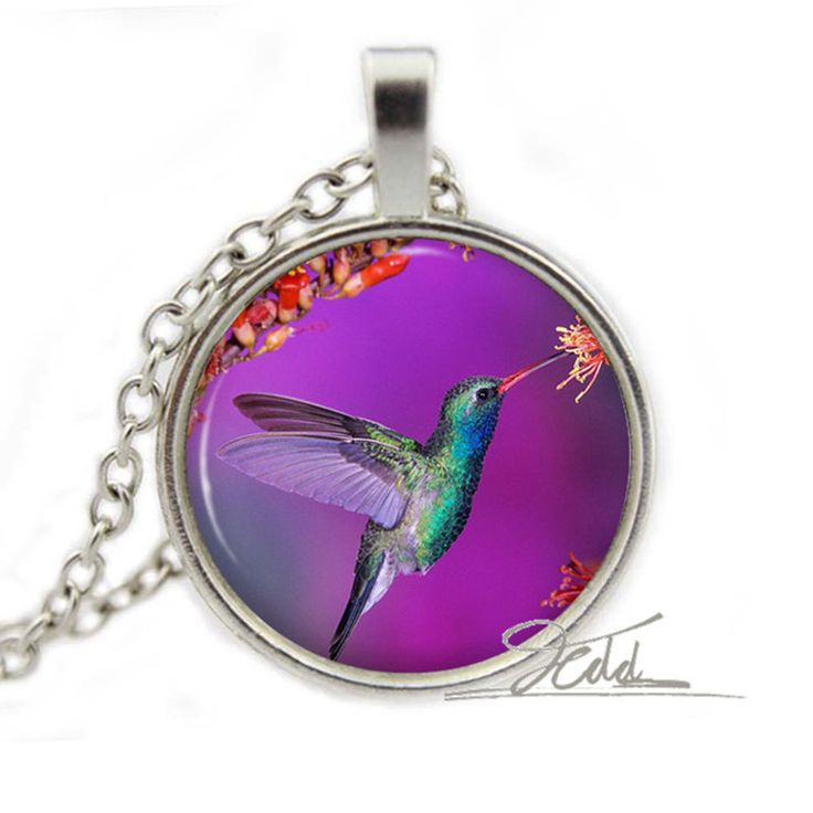1Pcs Hummingbird Purple Pendant Necklace - Bronze And Silver Bird Jewelry Woodland Gift for Her Glass Cabochon Pendant Necklace #Affiliate