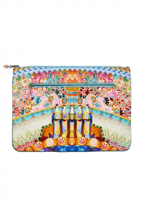 CAMILLA CASA MILA LARGE CANVAS CLUTCH - - Polyester canvas clutch with tassel - Cotton canvas lining - Internal zip compartment - Exclusive CAMILLA print FABRICATION: Polyester canvas w/cotton canvas lining and leather trim EMBELLISHMENT: Beaded tassel DIMENSIONS: 37.5cm X 26cm