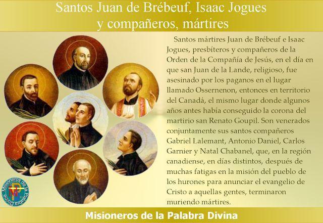 MISIONEROS DE LA PALABRA DIVINA: SANTORAL - SANTOS JUAN DE BRÉBEUF, ISAAC JOGUES Y ...