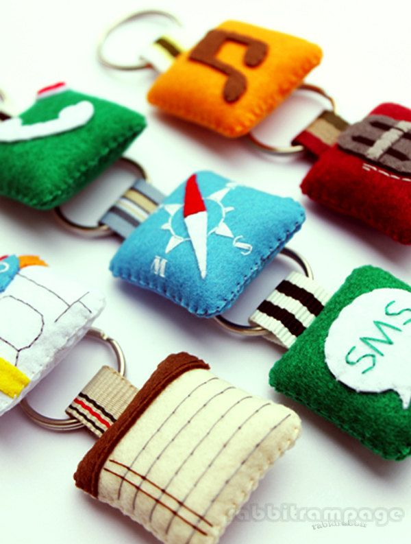 Icon Felt Keychains  4 pieces of your Choice  by rabbitrampage