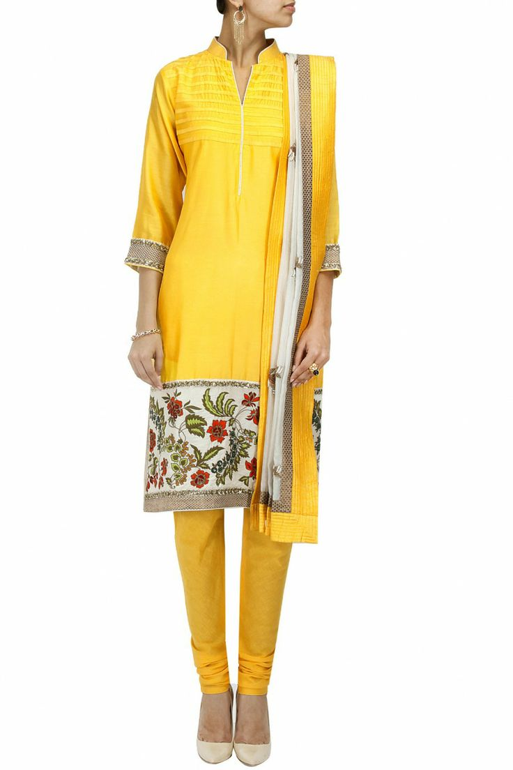 Yellow floral embroidered kurta set by EKRU. Shop now only at www.perniaspopups... #perniaspopupshop #ekru #love #kurta #etnic #embroidered #exquisite #shopnow #happyshopping