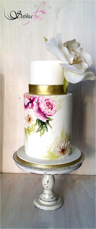 """Glacê Painting Style - """"Painted Wedding Cake with wafer paper Rose"""" by Sophia  Fox - http://cakesdecor.com/cakes/230585-glace-painting-style-painted-wedding-cake-with-wafer-paper-rose"""