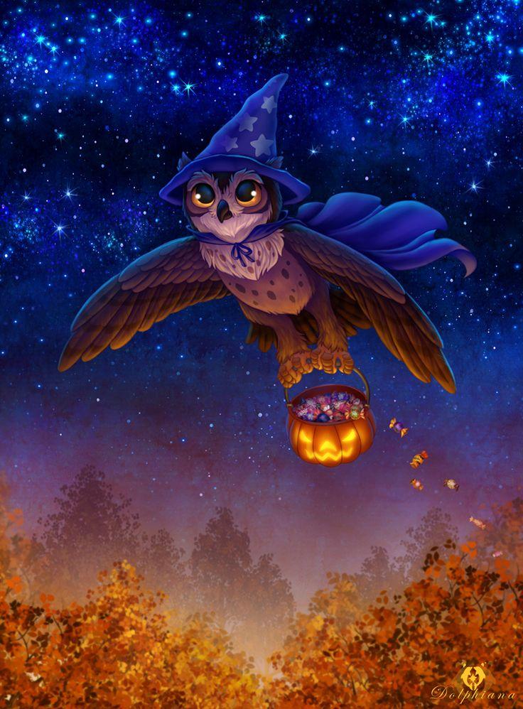 Halloween Owl by DolphyDolphiana.deviantart.com on @DeviantArt
