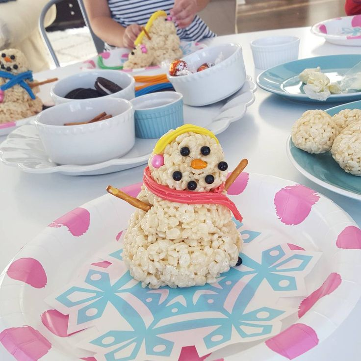 Everyone loved making these Rice Krispie Snowman Treats today.