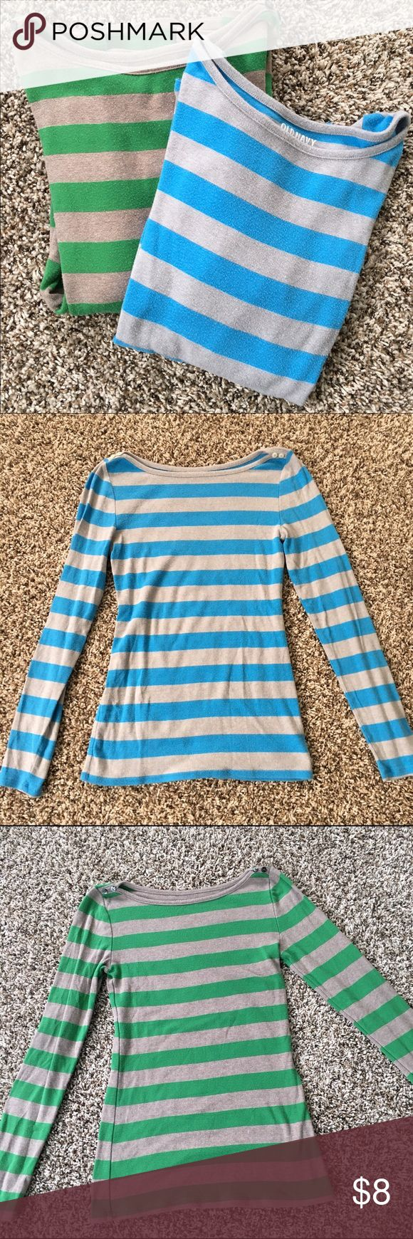 Bundle- Old Navy long sleeve boat neck tops 2 size small long sleeve tops with adorable button detail on neck line. Long and lean with stretch makes these super comfy! Some piling because I loved them so much, but still lots of life left! Old Navy Tops Tees - Long Sleeve