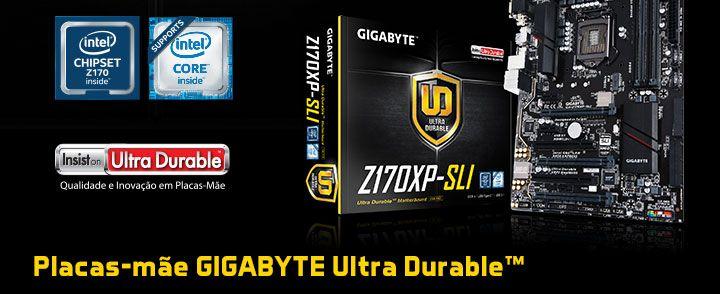 KaBuM! - Placa-Mãe GIGABYTE p/ Intel LGA 1151 ATX GA-Z170XP-SLI, DDR4, HDMI, USB 3.1 Tipo C, SATA Express, M.2 , SLI/CFX
