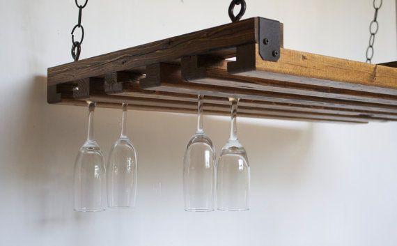 Hanging Wine Rack - Reclaimed Wood - Rustic Kitchen - Wine Rack - Wine Glasses - Home Decor - Modern Kitchen