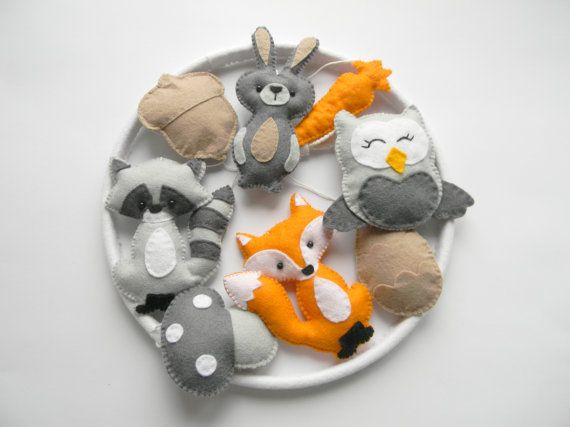 Woodland nursery mobile Baby Crib Mobile Felt by Rainbowsmileshop                                                                                                                                                                                 More