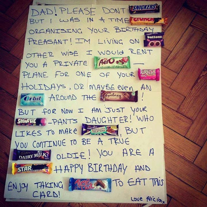 Another chocolate bar message - this time a homemade gift for a father's birthday.